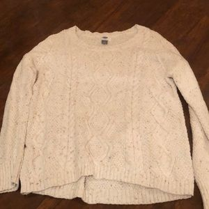 old navy white speckled sweater